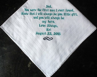 Father of the Bride embroidered wedding handkerchief, father of the bride memento gift, personalized father of the bride gift, hankie
