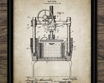 Vintage Wine Press Patent Print - 1903 Wine Press Design - Wine Making Patent - Single Print #1394 - INSTANT DOWNLOAD