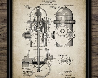 Vintage Fire Hydrant Patent Print - 1903 Fire Hydrant - Firefighting Equipment Design - Single Print #660 - INSTANT DOWNLOAD