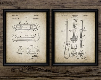 Vintage Canoe And Paddle Patent Print Set Of 2 - Canoe Design - Canoeing - Canoe Wall Art - Set Of Two Prints #908 - INSTANT DOWNLOAD
