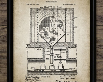 Vintage Nuclear Reactor Patent Print - 1955 Nuclear Power Plant Design - Electricity Generation - Single Print #964 - INSTANT DOWNLOAD