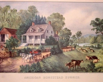 CURRIER & IVES Vintage 1952 Print Art American Homestead Summer Cows Horses carriage family