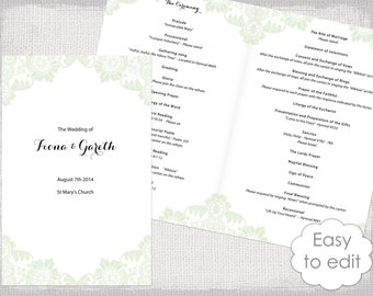Catholic Wedding program template Champagne Scroll