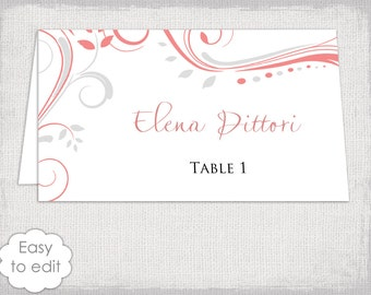 "Placecards template silver gray and coral ""Scroll"" name cards -DIY wedding place cards printable Word YOU edit digital instant download"