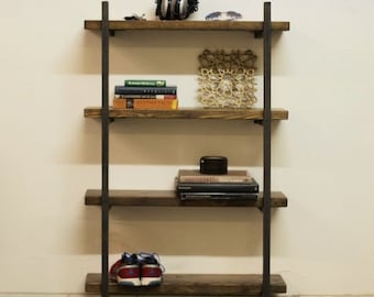 Reclaimed Wood and Steel Bookshelf - Macagon Design - Wall mounted bookcase with four shelves included