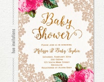 lace baby shower invitation, gold glitter girl baby shower invitation pink roses flowers, digital jpg or pdf printable invite 144