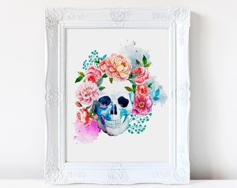 Sugar Skull watercolor print, Whimsical Skull, Sugar Skull Poster, Skull art, Beautiful Sugar Skull, Day of the dead, Dia de los muertos