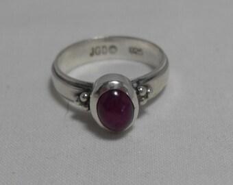 SALE Janice Girardi Sterling Ruby Ring, Designer signed ring, sterling silver cabochon ruby ring, red gemstone gift for her Gingerslittlegem