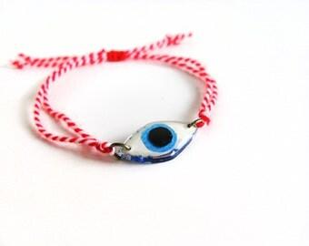 March Bracelet, Evil Eye Bracelet, Red White Martis Bracelet, Greek Traditional Martis Lucky Charm Bracelet, Friendship Adjustable Bracelet