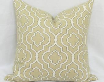 Tan Moroccan tile pillow cover 18x18 20x20 22x22 24x24 26x26 Euro sham Tan lumbar pillow Taupe pillow Khaki pillow 12x20 12x24 16x24 16x26