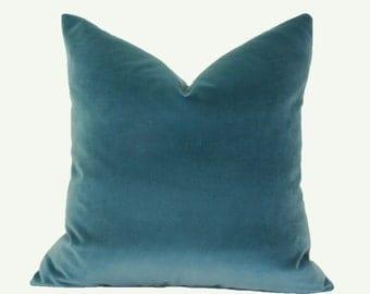 Teal velvet throw pillow cover 18x18 20x20 22x22 24x24 26x26 12x24 14x26 16x26 16x24 Teal velvet pillow Teal euro sham Velvet lumbar pillow