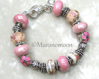 Rose Pink White European Bracelet Flower Floral Glass Bead Lampwork Charm Bracelet Dangle Heart Charm Mother Nana Grandma Jewelry #EB1430