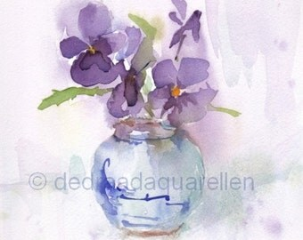 Grandmother's little vase. Original watercolour.