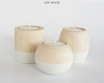 """Wooden Candle Holders in """"Off White"""""""