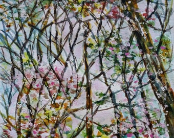 Watercolor original, trees ans sky