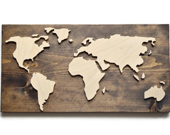 World Map Sign - Walnut and Raw Wood - Map Sign - Dimensional Wooden Plaque with Raised Continents