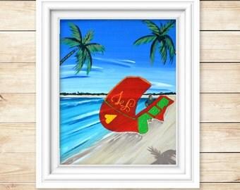 Beach Painting - Kiteboard - Beach Wall Art - Beach Wall Decor - Beach Art - Seascape Painting - Acrylic Painting - Original Artwork