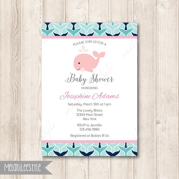 pink whale baby shower invitation whale tail navy blue
