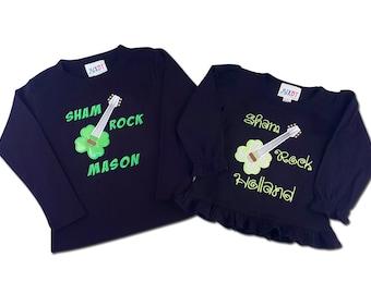Boy Girl Sibling St Patrick's Day ShamROCK Shirts with Names