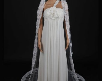 1 Tier Cathedral Length Tulle Comb Wedding Veil with Appliqued Hem VL4