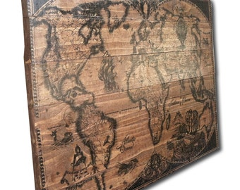 "Large Detailed Wood World Map Wall Art on Distressed Solid Wood - 32"" x 21"" Vintage Illustration Etching Drawing"
