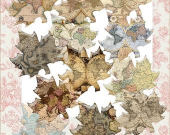 Pdf Digital Vintage Maps Leaves Leaf Images Instant  Download Scrapbook  Images