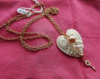 Rose gold chain with cream lace Porcelain Heart