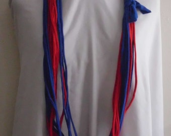 Scarf, Red / Blue Jersey Infinity Scarf