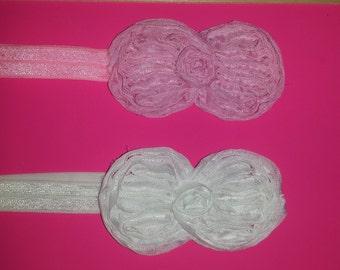 Pink or white baby headband
