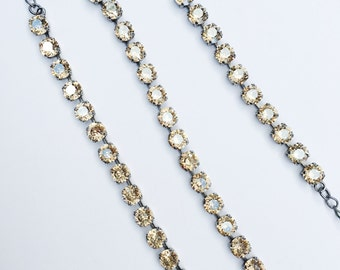 Jewelry Set: Swarovski Crystal Necklace and Bracelet Set, Antique Silver Base, Champagne Crystal Color