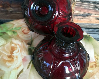 Anchor Hocking,  Royal Ruby, Oyster and Pearl, Candle Holders, Home Decor, Lighting
