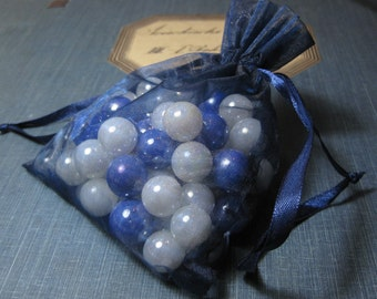 vintage glass marbles: shimmering blue and white