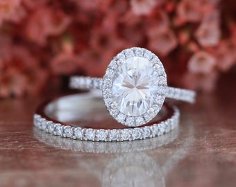 Forever One Moissanite Engagement Ring and Half Eternity Diamond Wedding Band Bridal Set in 14k White Gold 8x6mm Oval Cut Gemstone Ring Set