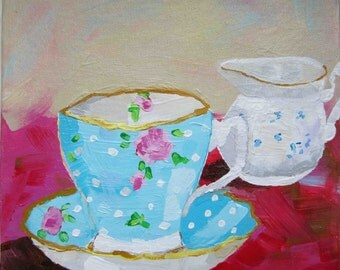 Fine Art Print of my Original Painting - Colourful Teacup and Jug - Impressionist Style