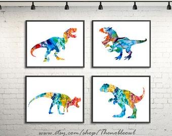Dinosaur Art Print, nursery dinosaur, colorful kids art, dino print, dinosaur print, t-rex art, t-rex print - H163-5/H156