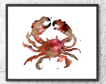 Crab art print, watercolor painting crab, nautical decor, sea life, beach decor, ocean life, coastal art, bathroom wall art   - F129