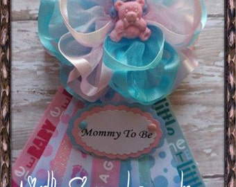 Twin Baby Pink & Blue Mommy To Be Corsage Its a Boy It's a Girl Baby Shower
