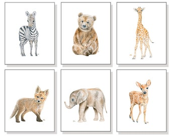 Baby Animal Nursery Art Baby Animal Prints. Baby Animal Art Animal Watercolor Girls Boys Room  Elephant Bear Giraffe Deer Zebra Fox Set of 6