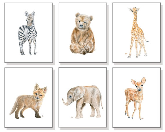 Baby Animal Nursery Art Baby Animal Prints Baby Animal Art