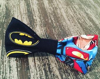 Bow Tie Collar Attachment & Accessory for Dogs and Cats  / Superhero Duo / Batman vs. Superman