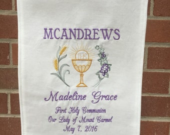 Communion Banner Embroidered First Holy Communion Banner 12x18 custom banner