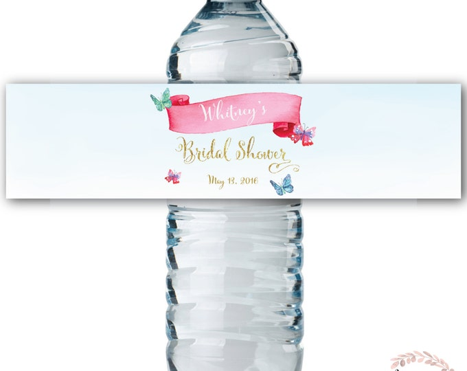 Water Bottle Labels // Butterfly // Watercolor // Water Wrap // Bridal Shower // Printed or Printable // CORDOBA COLLECTION