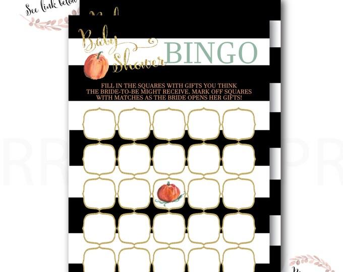 Baby Shower Bingo //Bingo Game // Pumpkin // Little Pumpkin // Stripes // Black // Gold Glitter // Instant Download // NANTUCKET COLLECTION