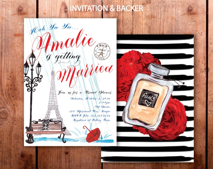 Paris Bridal Shower Invitation // French Bridal Shower // Eiffel Tower // Fall // Red // White // Blue // Rain // Umbrella / ILE DE FRANCE
