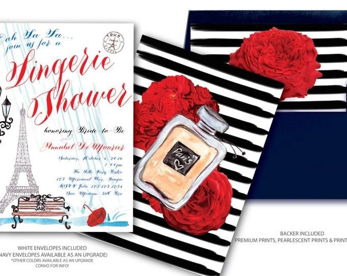 Paris Lingerie Shower Invitation // Lingerie Shower Invitation // Eiffel Tower // Red // White // Blue // Rain // Umbrella / ILE DE FRANCE