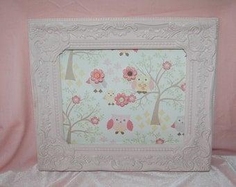 Shabby Pink Owl Print Magnet Memo Board