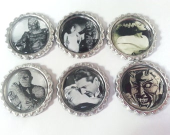 Old Black n White Movies- Movie Magnet- Bottle Cap Magnet- Rockabilly- Psychobilly- Dracula- Swamp Monster- Frankenstein Bride- Frankenstein