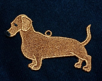 Dachshund Weiner Dog Ornament Embroidered Free Standing Lace
