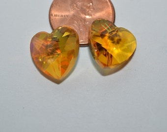 2 PCs - 14 mm Amber Heart Pendant - Bead (2043091)