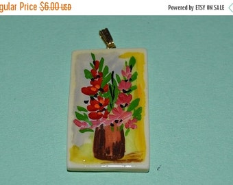 LIMITED TIME SALE Vintage Hand Painted Floral Bone Pendant (1060233)
